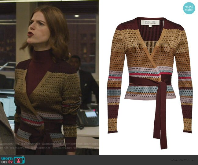Wrap Pullover with Metallic Thread by Diane von Furstenberg worn by Maia Rindell (Rose Leslie) on The Good Fight