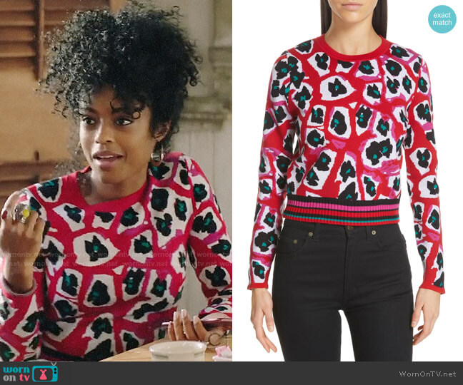 Diane von Furstenberg Harrison Sweater in Candy Red Multi worn by Ali Finer (Javicia Leslie) on God Friended Me
