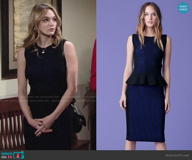Diane von Furstenberg Hind Peplum Top and Lesa Skirt worn by Summer Newman (Hunter King) on The Young & the Restless