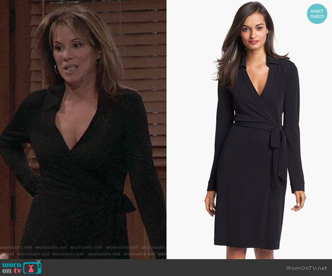 Diane von Furstenberg New Jeanne Wrap Dress worn by Alexis Davis (Nancy Lee Grahn) on General Hospital