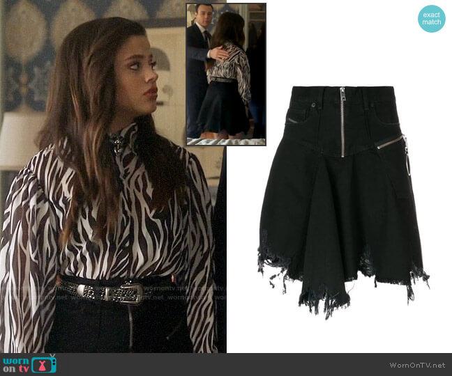 Diesel Frayed Skater Skirt worn by Maggie Vera (Sarah Jeffery) on Charmed