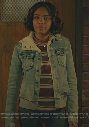 Jennifer's striped tee and denim jacket on Black Lightning