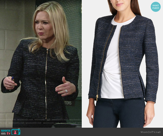 DKNY Tweed Zip-Up Peplum Jacket worn by Brittany on The Young and the Restless