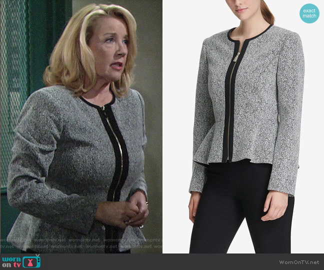 DKNY Zip-Front Knit Peplum Jacket worn by Nikki Reed Newman (Melody Thomas-Scott) on The Young & the Restless