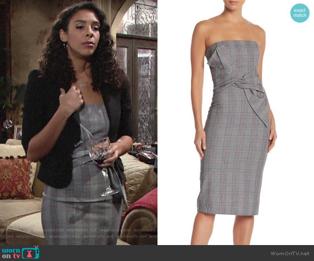 Do+Be Strapless Plaid Print Midi Dress worn by Kerry Johnson (Alice Hunter) on The Young & the Restless