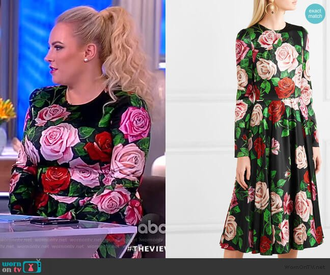 WornOnTV: Meghan's Black Rose Print Dress On The View