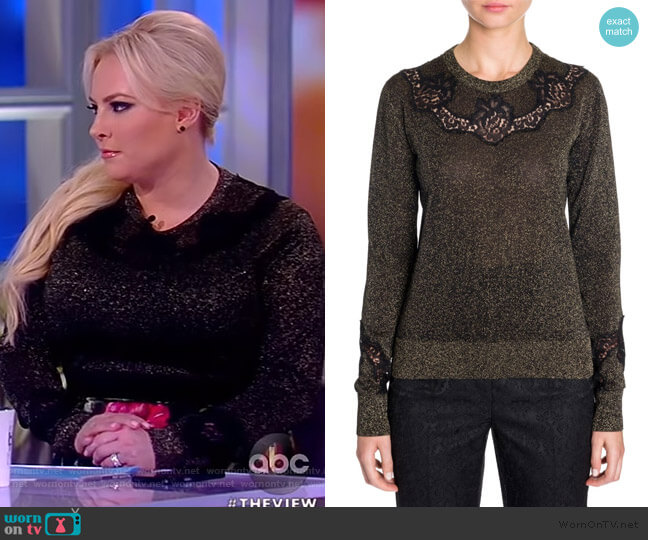 Lace Insert Lurex Sweater by Dolce & Gabbana worn by Meghan McCain  on The View