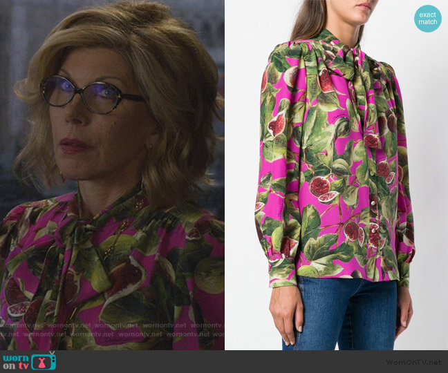fig print pussy bow shirt by Dolce & Gabbana worn by Diane Lockhart (Christine Baranski) on The Good Fight
