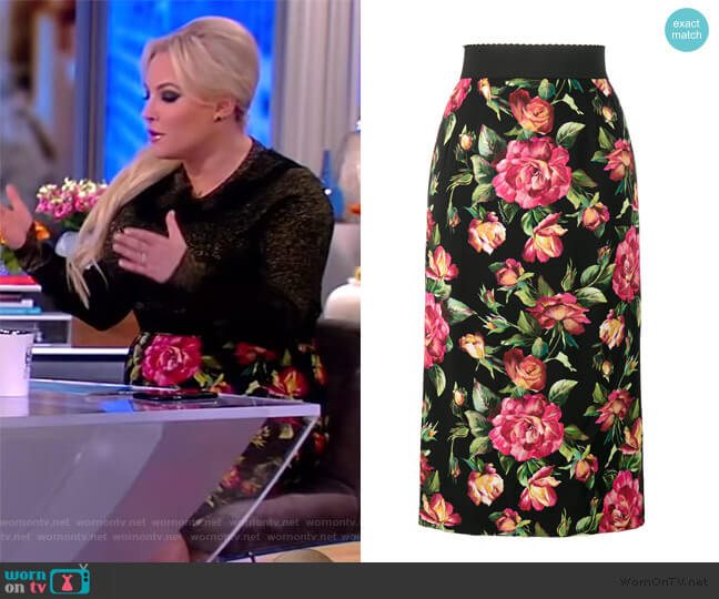 Floral Print Pencil Skirt by Dolce & Gabbana worn by Meghan McCain  on The View