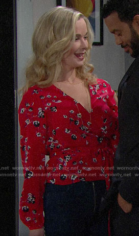 Donna's red floral wrap top on The Bold and the Beautiful