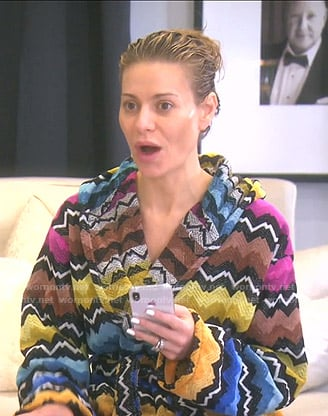 Dorit's multicolored zig zag robe on The Real Housewives of Beverly Hills