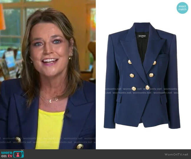 Double Breasted Blazer by Balmain worn by Savannah Guthrie  on Today