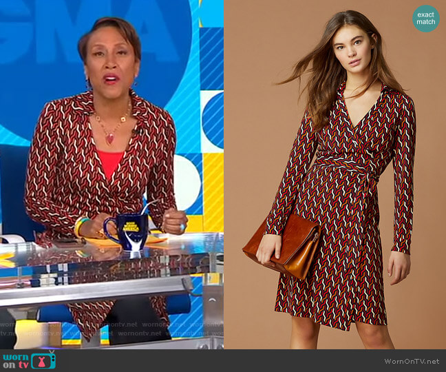 New Jeanne Two Silk Jersey Wrap Dress by Diane von Furstenberg worn by Robin Roberts  on Good Morning America