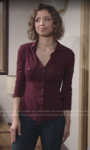 Elena's red button down shirt on The Young and the Restless