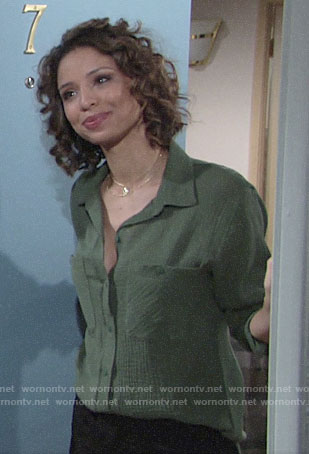 Elena's green textured button down shirt on The Young and the Restless