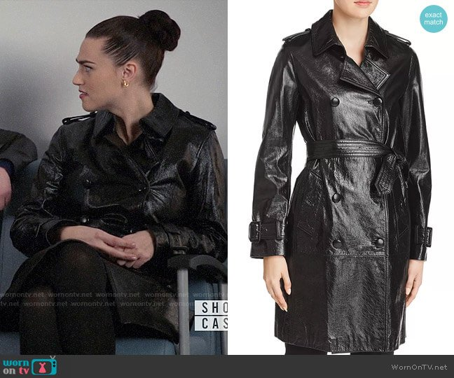 Elie Tahari Natania Leather Trench Coat worn by Lena Luthor (Katie McGrath) on Supergirl
