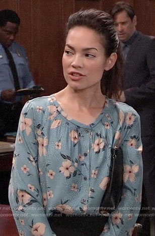 Elizabeth's blue floral blouse on General Hospital