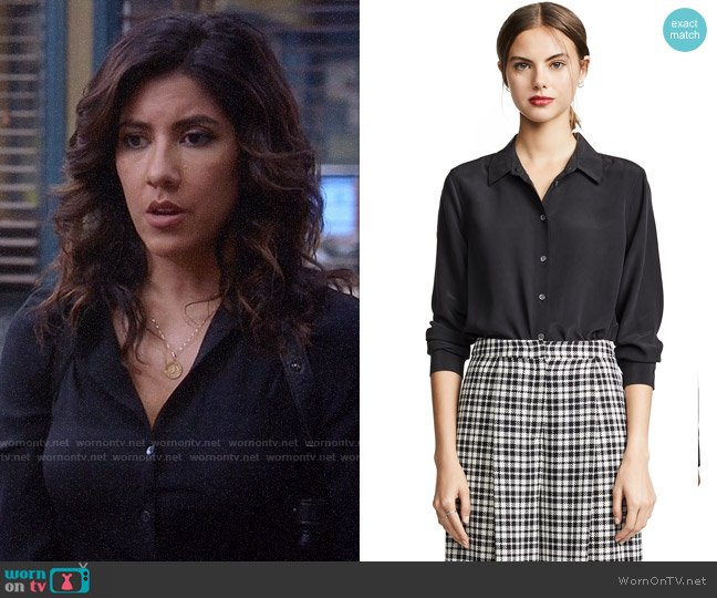 Equipment Essential Silk Shirt worn by Rosa Diaz (Stephanie Beatriz) on Brooklyn Nine-Nine