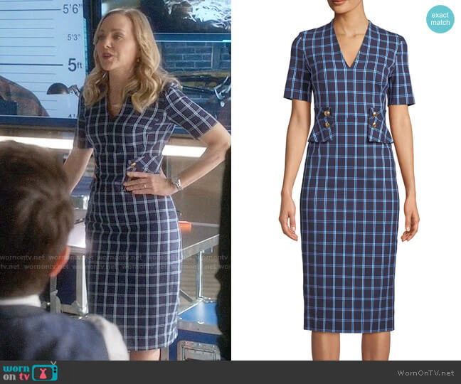 Escada V-Neck Short-Sleeve Windowpane Sheath Dress worn by Marissa Morgan (Geneva Carr) on Bull