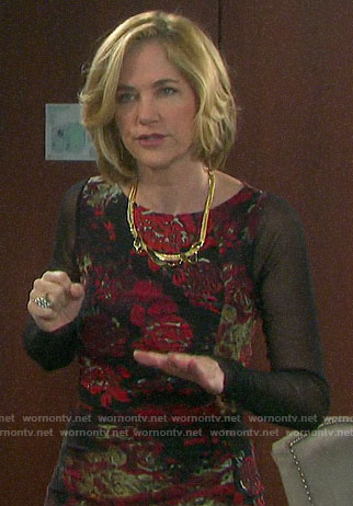 Eve's black and red floral long sleeved dress on Days of our Lives