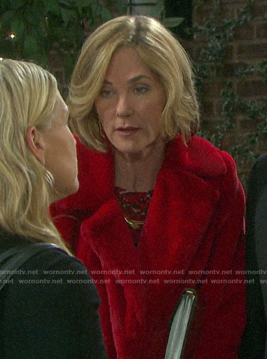 Eve's red fur coat on Days of our Lives