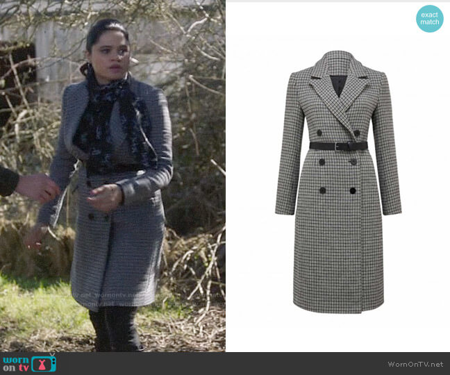 Ever New Isla Belted Check Coat worn by Mel Vera (Melonie Diaz) on Charmed