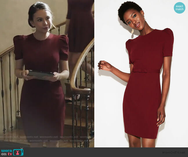 Puff Shoulder Sheath Dress by Express worn by Mona Vanderwaal (Janel Parrish) on PLL The Perfectionists