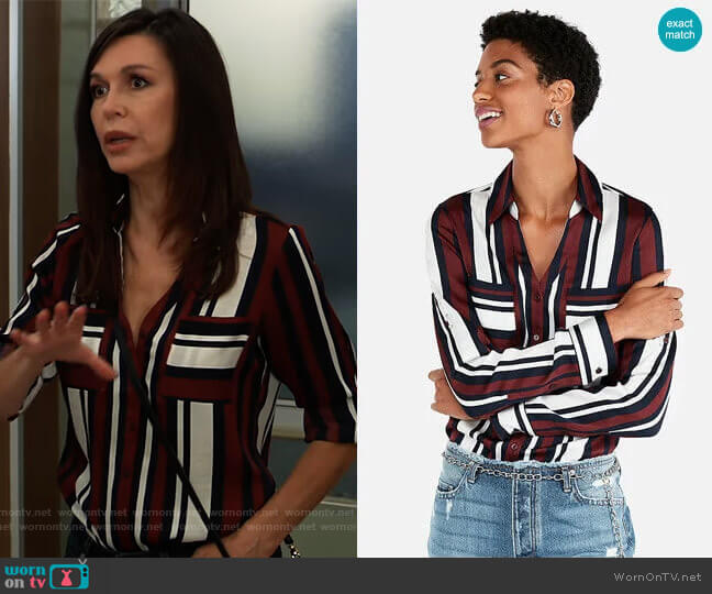 Express Slim Fit Stripe Portofino Shirt worn by Anna Devane (Finola Hughes) on General Hospital