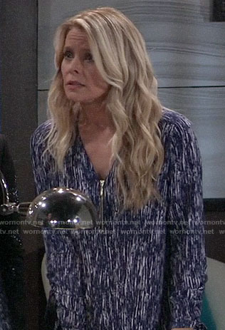 Felicia's blue printed zip front top on General Hospital