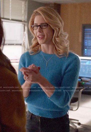 Felicity's blue sweater on Arrow