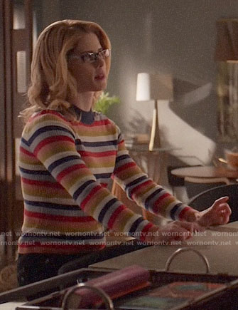 Felicity's multi-colored stripe sweater on Arrow