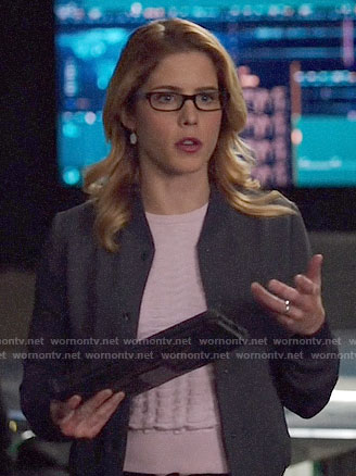 Felicity's pink textured sweater and grey bomber jacket on Arrow