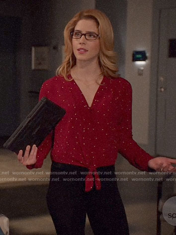 Felicity's red polka dot tie-front top on Arrow