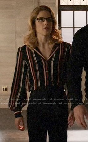 Felicity's black striped button down shirt on Arrow