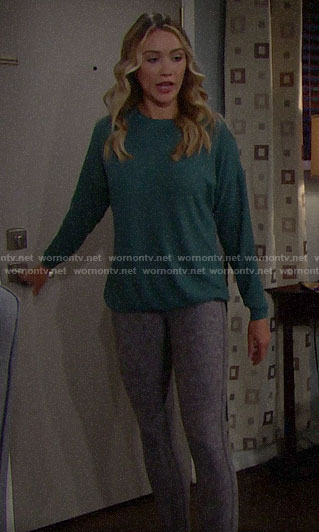 Flo's teal green sweatshirt and leggings on The Bold and the Beautiful