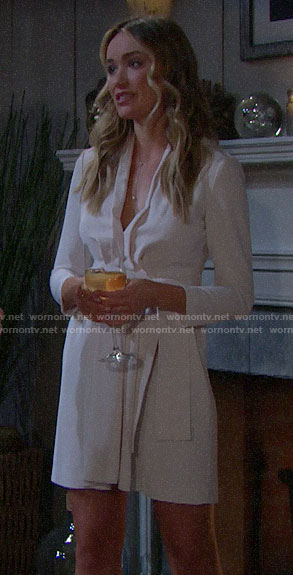 Flo's off-white belted dress on The Bold and the Beautiful