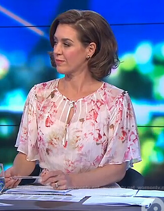 Gorgi's pink floral keyhole dress on The Project