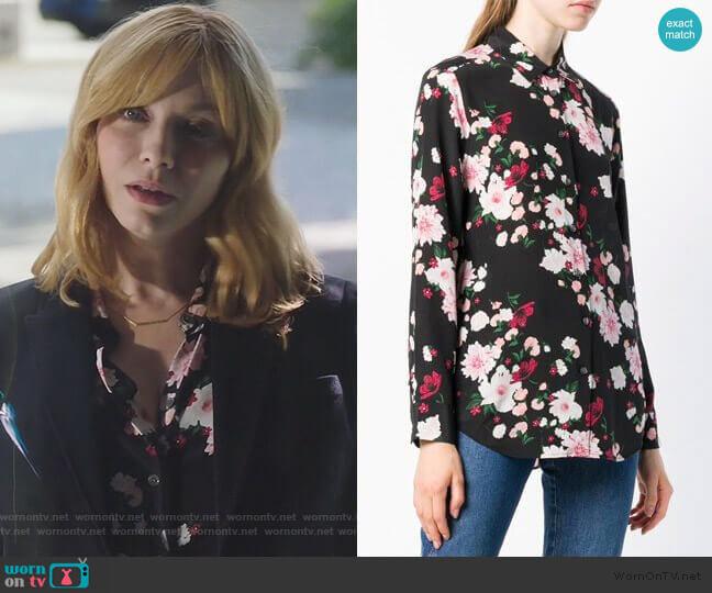 floral print shirt by Equipment worn by Beth Boland (Christina Hendricks) on Good Girls