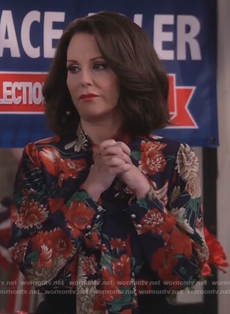 Karen's blue floral print tie neck blouse on Will and Grace