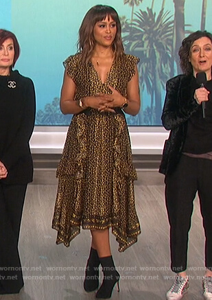 Eve's black floral ruffled dress on The Talk