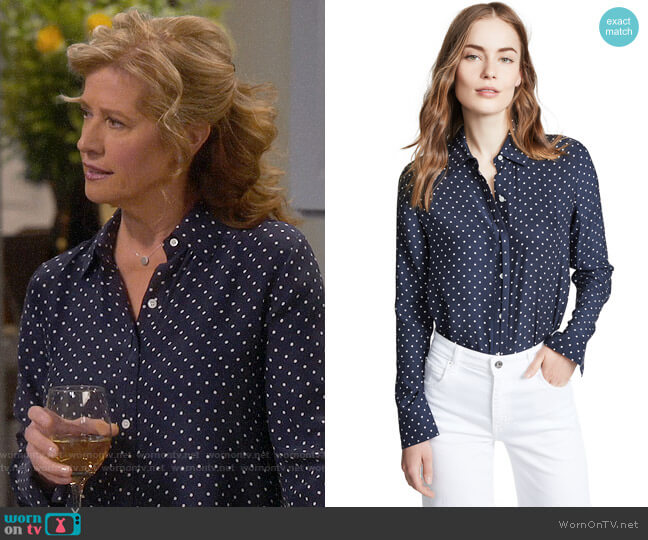 Frame Clean Polka Dot Blouse worn by Vanessa Baxter (Nancy Travis) on Last Man Standing