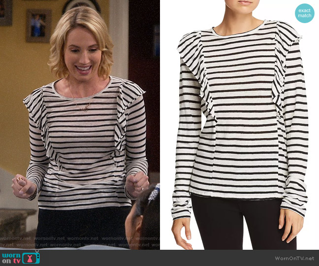 Frame Ruffled Striped Linen Tee worn by Mandy Baxter (Molly McCook) on Last Man Standing