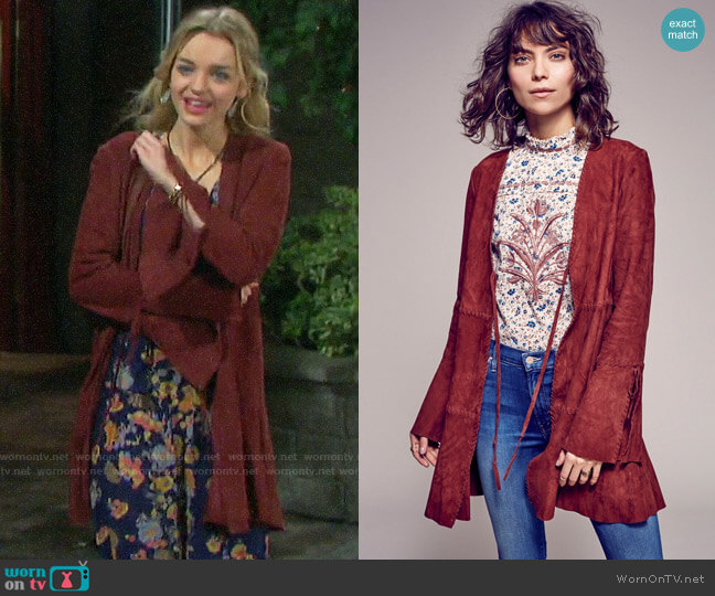 Free People Drop Waist Soft Jacket worn by Claire Brady (Olivia Keegan) on Days of our Lives