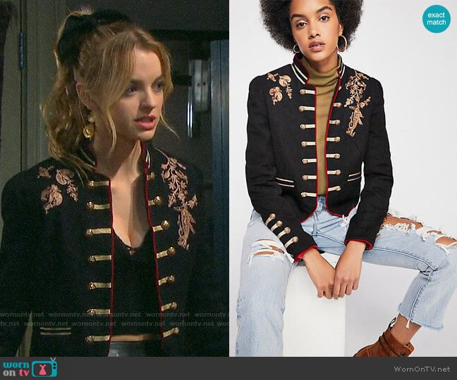 Free People Lauren Band Jacket worn by Claire Brady (Olivia Keegan) on Days of our Lives