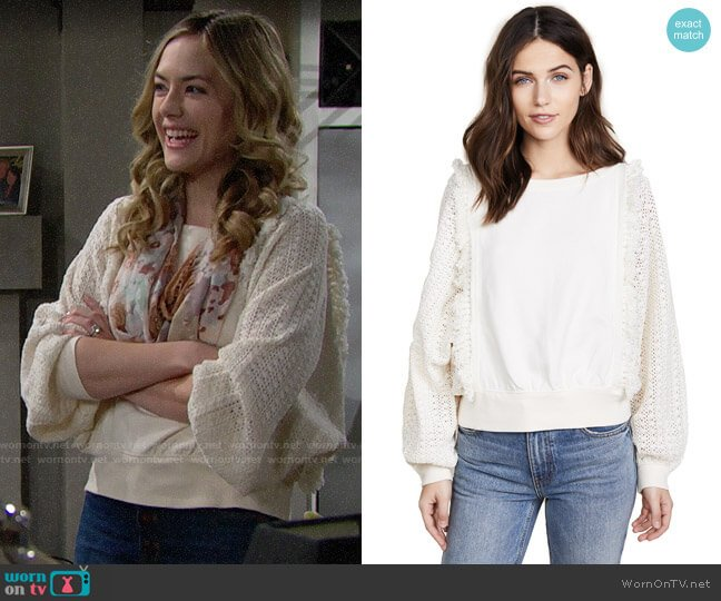 Free People Faff & Fringe Sweater worn by Hope Logan (Annika Noelle) on The Bold & the Beautiful