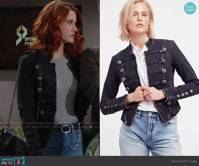 Free People Fitted Military Denim Jacket worn by Sally Spectra (Courtney Hope) on The Bold & the Beautiful