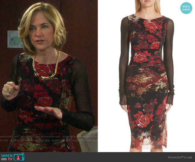 Fuzzi Contrast Sleeve Tulle Dress  worn by Eve Donovan (Kassie DePaiva) on Days of our Lives