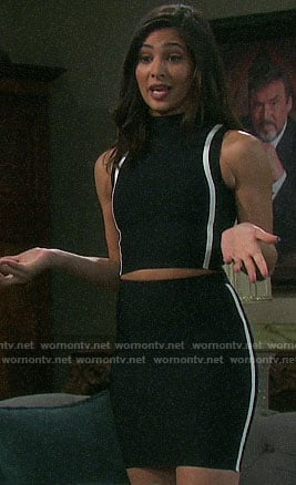Gabi's black striped crop top and skirt on Days of our Lives