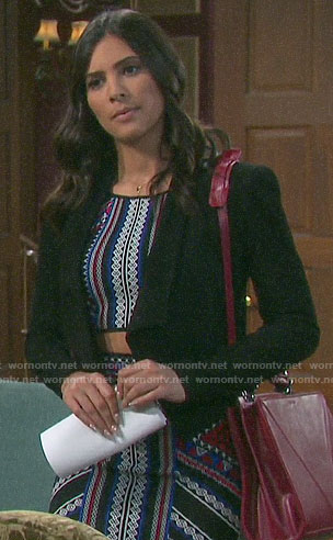 Gabi's geometric print crop top and skirt on Days of our Lives