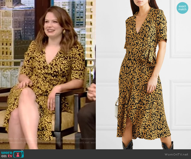 Ganni Printed Crepe Dress worn by Katie Lowes on Live with Kelly and Ryan